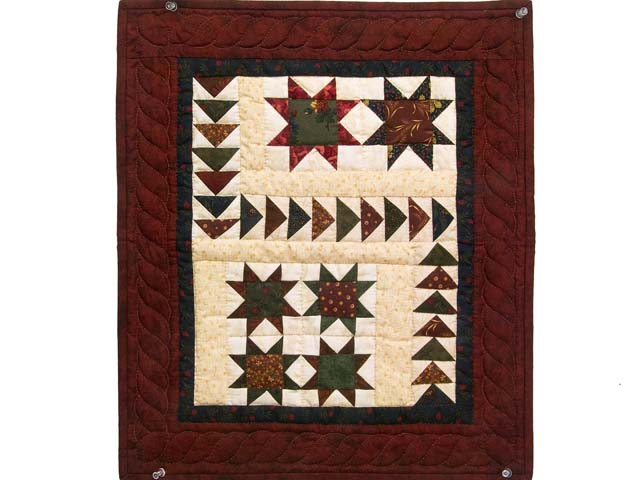 Burgundy Navy and Wheat Miniature Flying Geese Quilt Photo 1