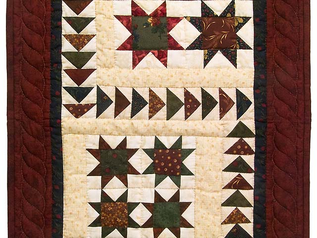 Burgundy Navy and Wheat Miniature Flying Geese Quilt Photo 2
