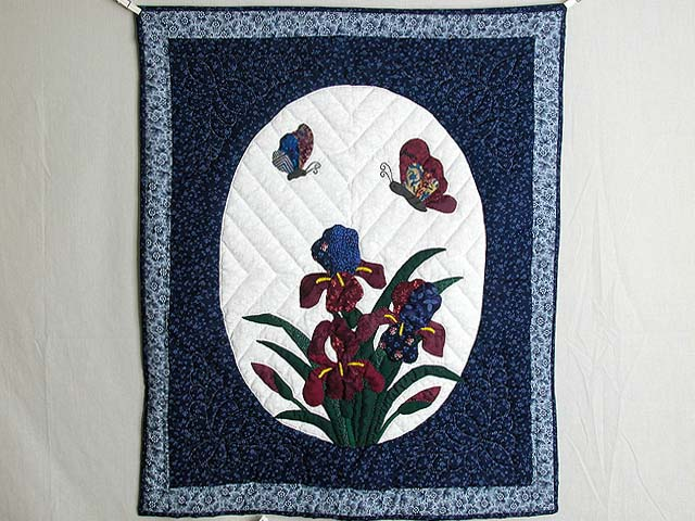 Blue and Navy Iris Applique Wall Hanging Photo 1