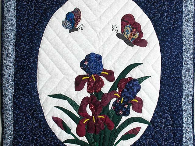 Blue and Navy Iris Applique Wall Hanging Photo 2