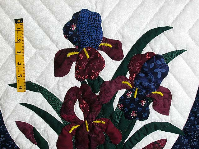 Blue and Navy Iris Applique Wall Hanging Photo 3