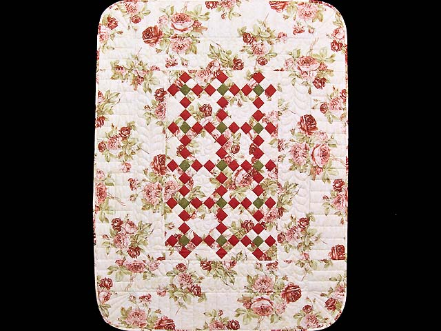 Rose Green and Cream Floral Nine Patch Crib Quilt Photo 1