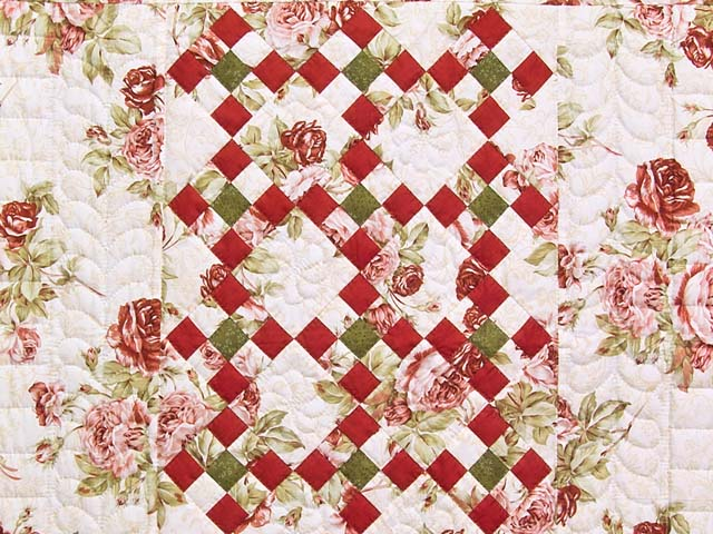 Rose Green and Cream Floral Nine Patch Crib Quilt Photo 2