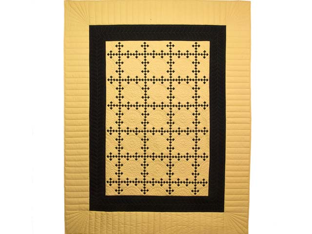 Mustard and Black Nine Patch Throw Photo 1