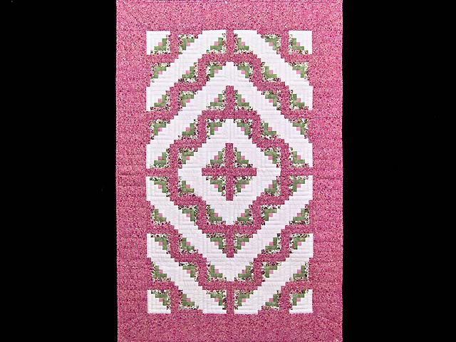 Raspberry and Green Log Cabin Crib Quilt Photo 1