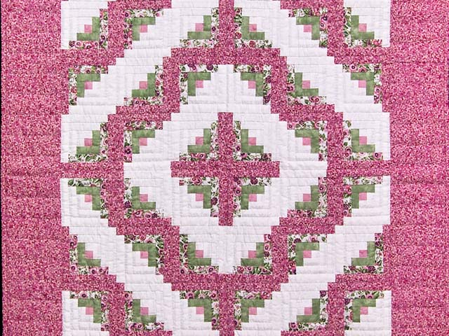 Raspberry and Green Log Cabin Crib Quilt Photo 2