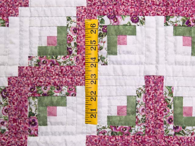 Raspberry and Green Log Cabin Crib Quilt Photo 3