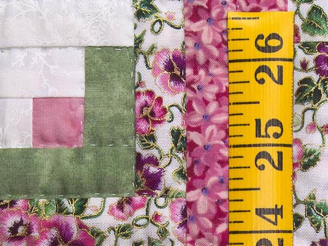 Raspberry and Green Log Cabin Crib Quilt Photo 4
