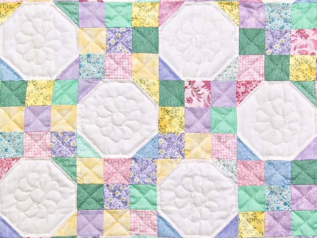 Light Green and Pastel Snowball Crib Quilt Photo 2