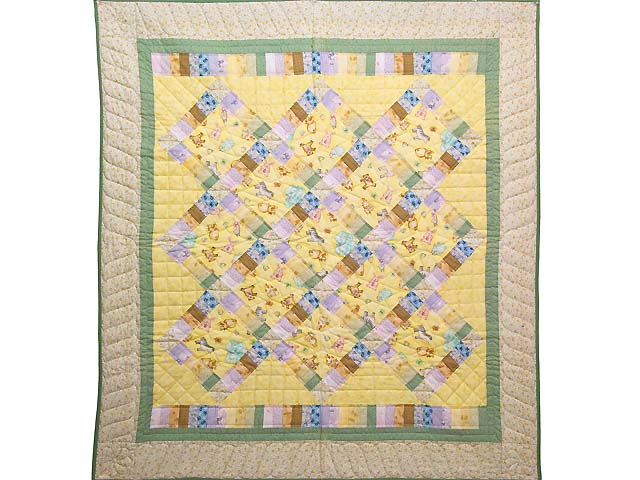 Pastel Railroad Crossing Crib Quilt Photo 1