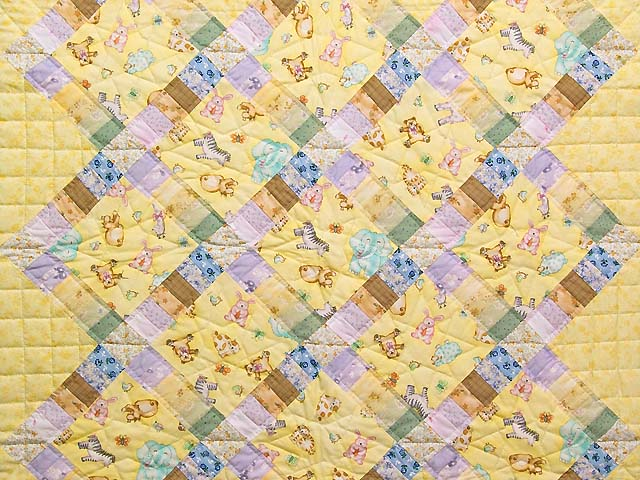 Pastel Railroad Crossing Crib Quilt Photo 2