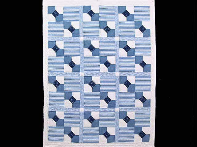 Blue and Cream Bow Tie Crib Quilt Photo 1