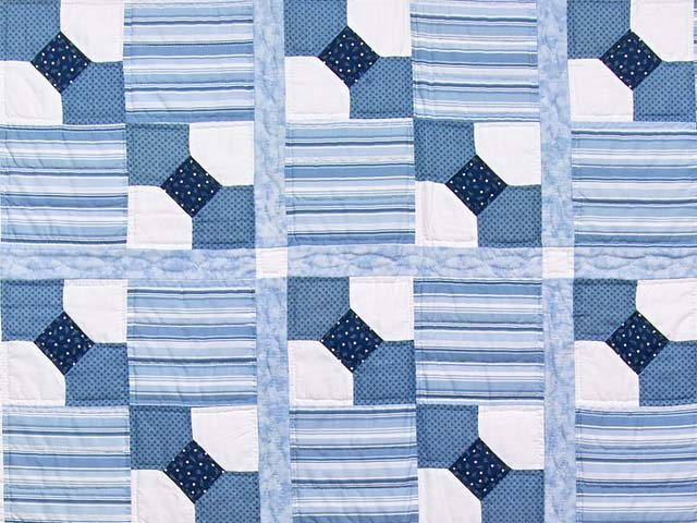 Blue and Cream Bow Tie Crib Quilt Photo 2