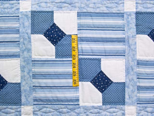 Blue and Cream Bow Tie Crib Quilt Photo 3
