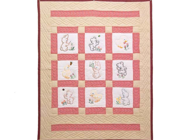 Red Check and Tan Embroidered Baby Animals Crib Quilt Photo 1