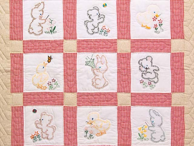 Red Check and Tan Embroidered Baby Animals Crib Quilt Photo 2