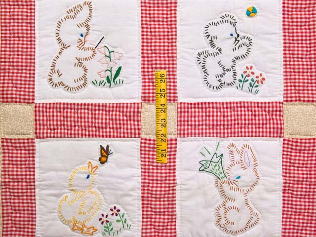 Red Check and Tan Embroidered Baby Animals Crib Quilt Photo 3