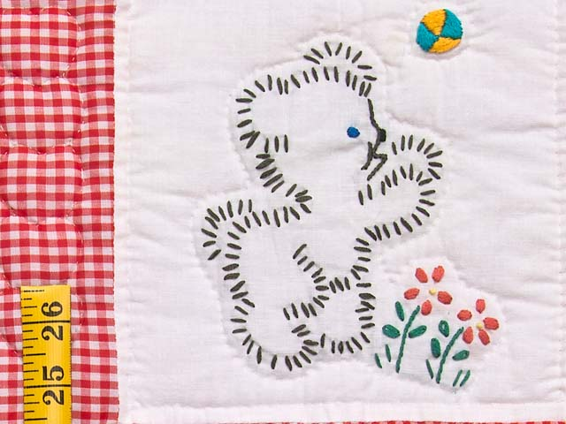 Red Check and Tan Embroidered Baby Animals Crib Quilt Photo 4