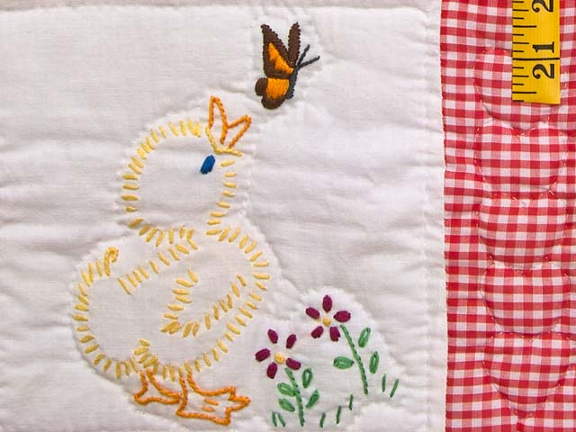 Red Check and Tan Embroidered Baby Animals Crib Quilt Photo 5