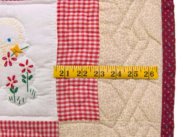 Red Check and Tan Embroidered Baby Animals Crib Quilt Photo 6