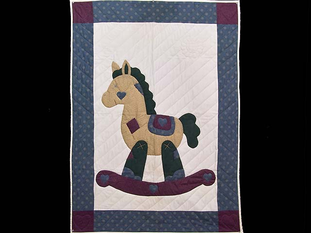 Blue and Purple Rocking Horse Crib Quilt Photo 1