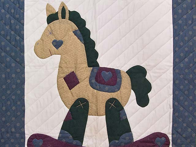 Blue and Purple Rocking Horse Crib Quilt Photo 2