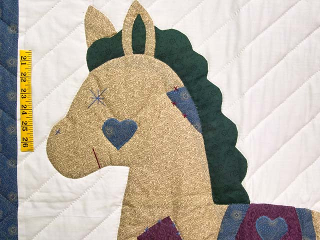 Blue and Purple Rocking Horse Crib Quilt Photo 3