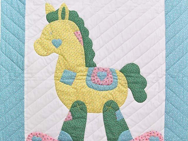 Pastel Aqua Blue and Pink Rocking Horse Crib Quilt Photo 2
