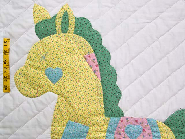 Pastel Aqua Blue and Pink Rocking Horse Crib Quilt Photo 3