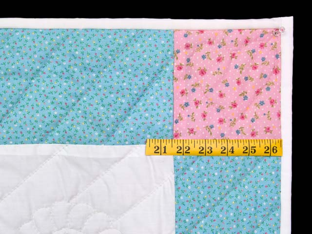 Pastel Aqua Blue and Pink Rocking Horse Crib Quilt Photo 5