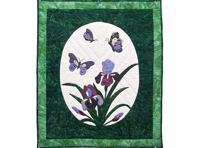 Green Iris Applique Wall Hanging Photo 1