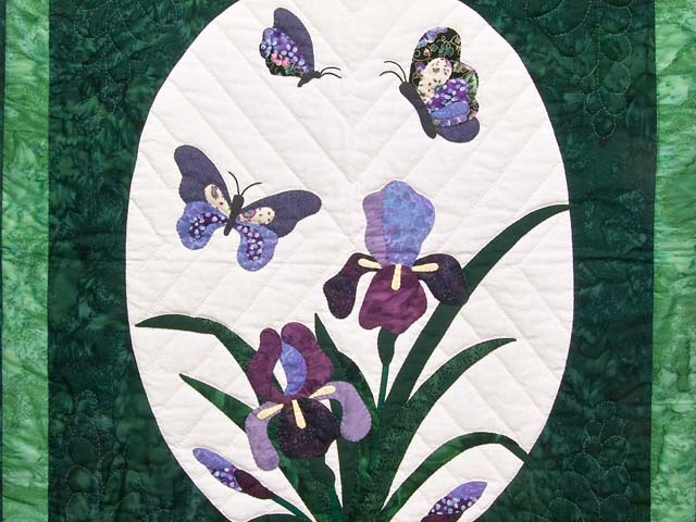 Green Iris Applique Wall Hanging Photo 2