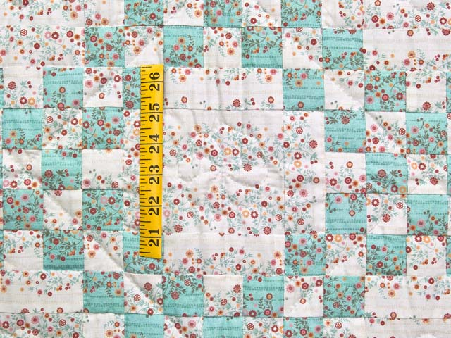 Aqua Rose and Cream Irish Chain Crib Quilt Photo 3