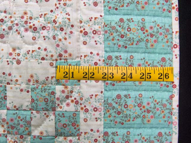 Aqua Rose and Cream Irish Chain Crib Quilt Photo 5
