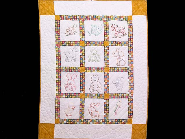 Cross Stitch Animals Crib Quilt Photo 1