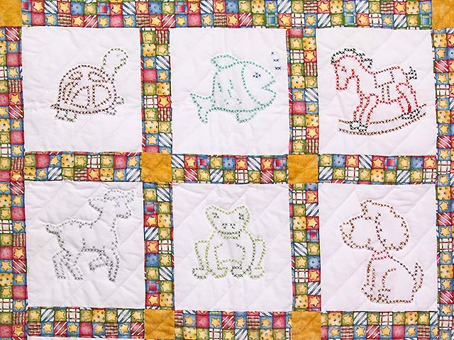 Cross Stitch Animals Crib Quilt Photo 2