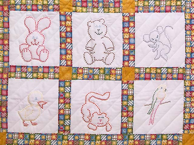 Cross Stitch Animals Crib Quilt Photo 3