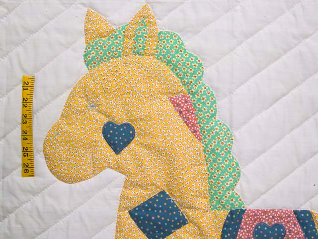 Bright Blue and Pink Rocking Horse Crib Quilt Photo 3