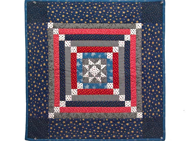 Blue Gray and Red Star Chain Wall Hanging Photo 1