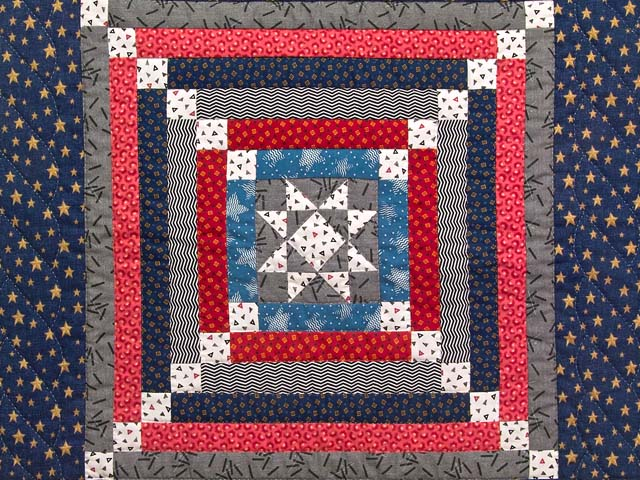 Blue Gray and Red Star Chain Wall Hanging Photo 2