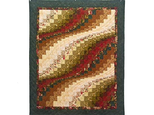 Green Red and Gold Bargello Wave Wall Hanging Photo 1