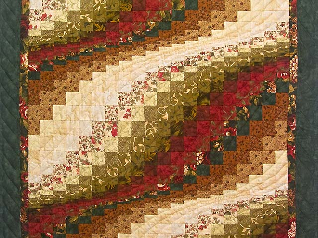 Green Red and Gold Bargello Wave Wall Hanging Photo 2