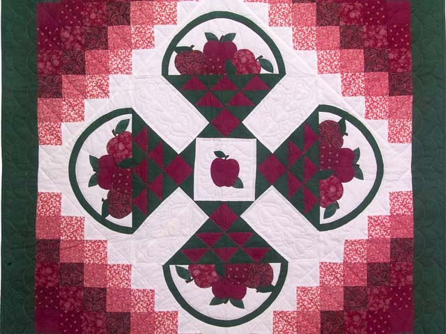Burgundy and Green Apple Basket Wall Hanging Photo 2