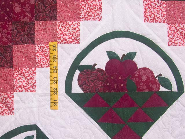 Burgundy and Green Apple Basket Wall Hanging Photo 3