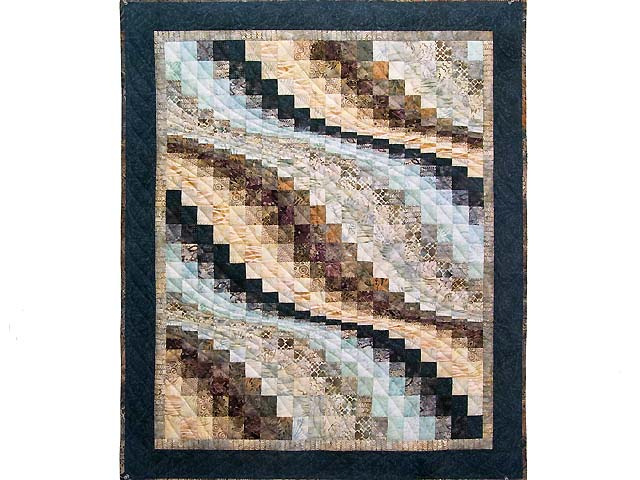 Navy Blue And Tan Bargello Wave Wall Hanging