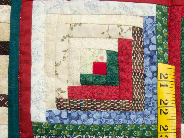 Red Green and Multi Log Cabin in the Woods Wall Hanging Photo 4
