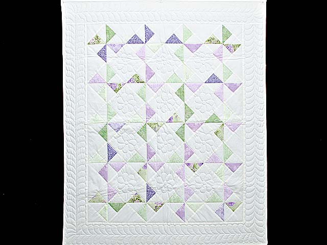 Lavender Green and Cream Pinwheel Crib Quilt Photo 1