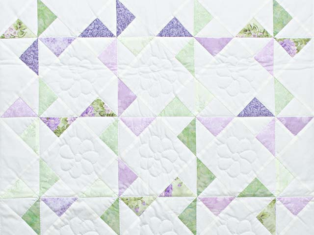 Lavender Green and Cream Pinwheel Crib Quilt Photo 2