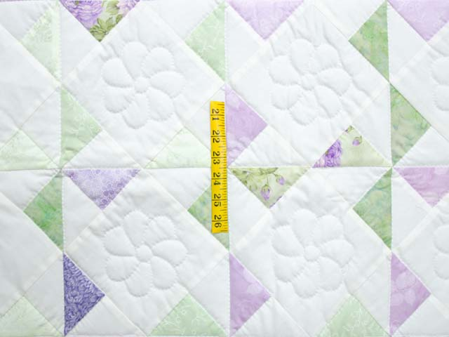 Lavender Green and Cream Pinwheel Crib Quilt Photo 3
