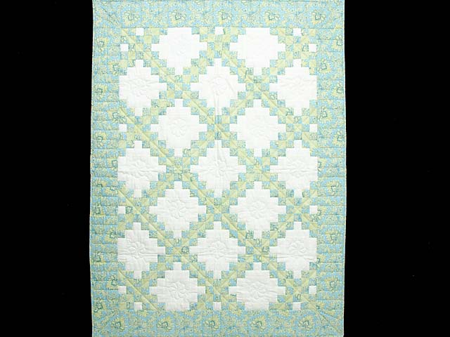 Blue Green and  Gold Irish Chain Quilt Photo 1